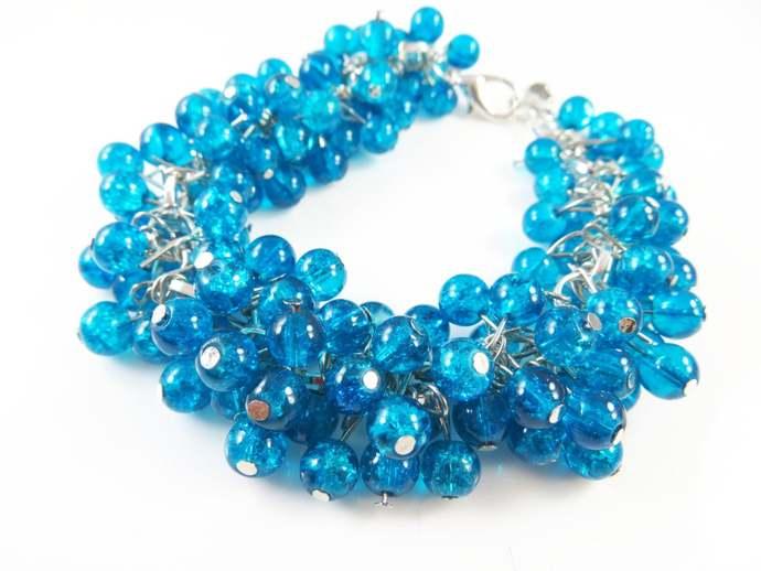 """Beautiful blue cha cha cluster bracelet (7 1/2"""" )"""