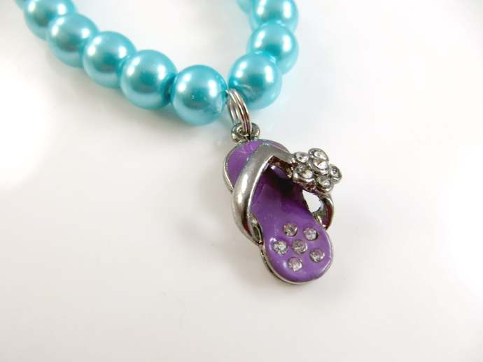 Girls purple flip flop charm bracelet