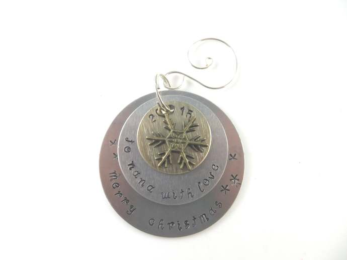 Clearance -  Hand stamped to nana with love Christmas ornament