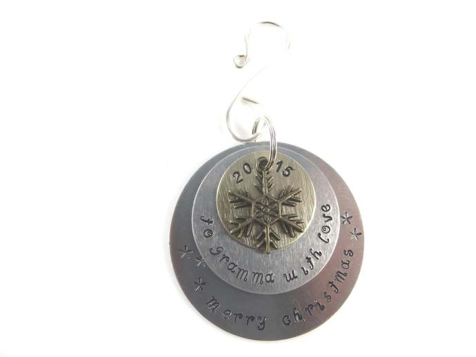 Clearance - hand stamped gramma Christmas ornament