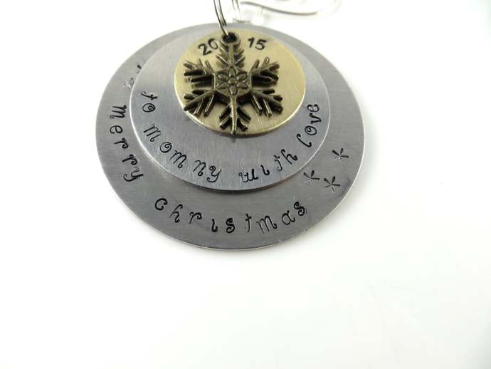 Clearance - Hand stamped to mommy with love Christmas ornament