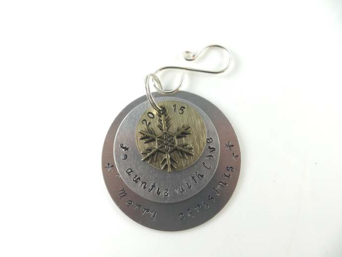 Clearance - Hand stamped to auntie with love Christmas ornament