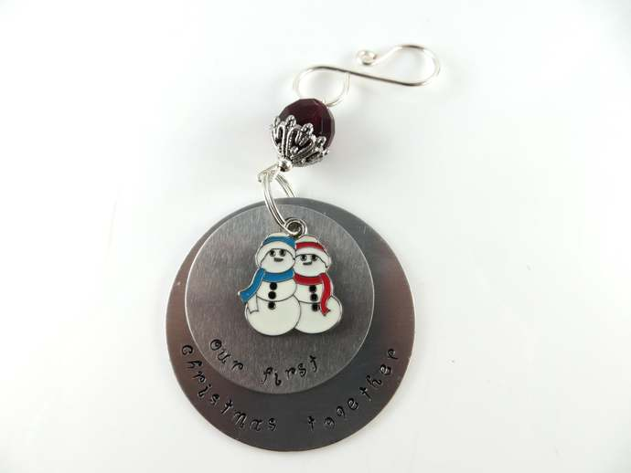 Clearance - Hand stamped our first christmas together Christmas ornament