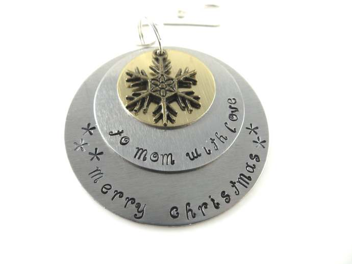 Clearance -  Hand stamped to mom with love Christmas ornament