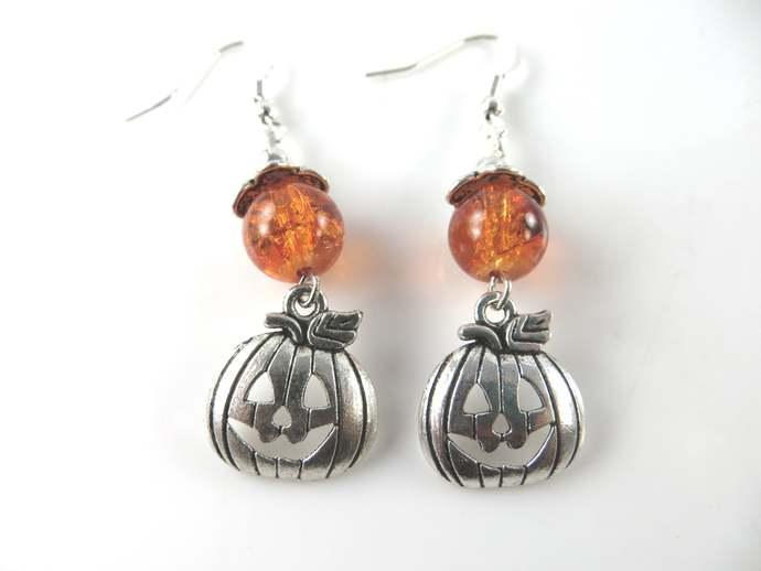 Silver halloween pumpkin earrings