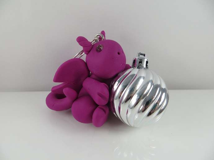 Purple clay dragon Christmas Ornament