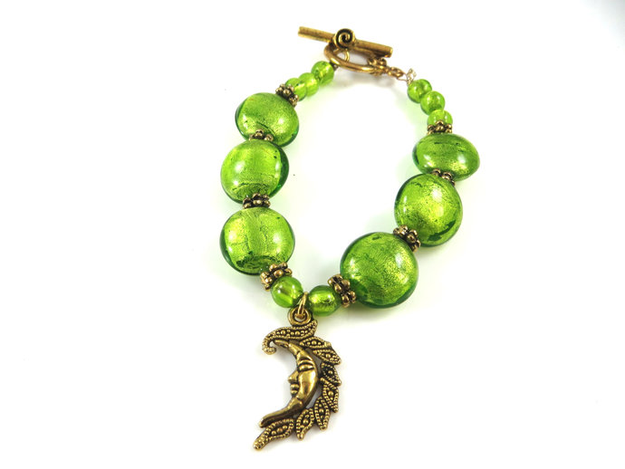 Clearance - Lime green moon bracelet