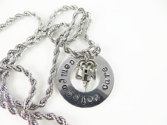 Clearance - Hand stamped L P N necklace