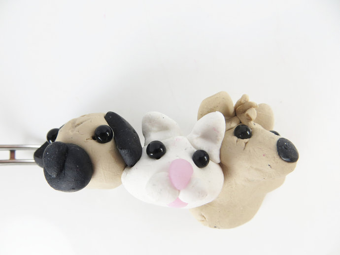 Clearance - Puppies and kitty clay barrette
