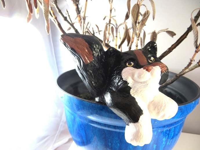 Clearance - ceramic calico cat plant pot sitter decor
