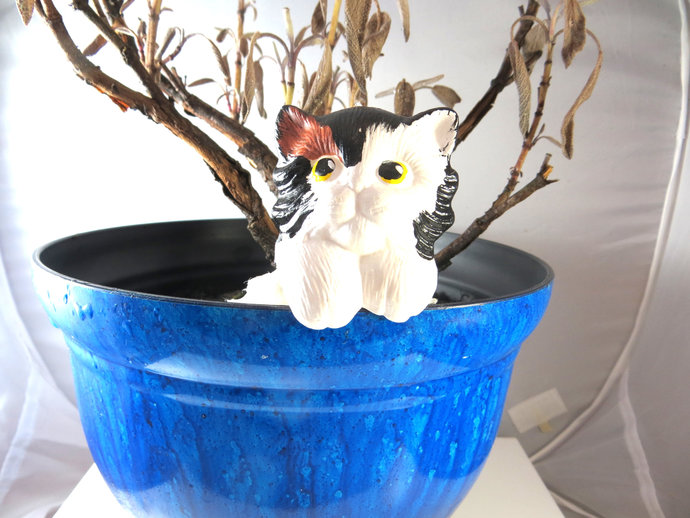 Clearance - ceramic calico baby cat plant pot sitter