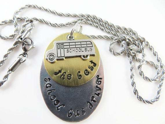 Clearance - Hand stamped oval - the best school bus driver - necklace