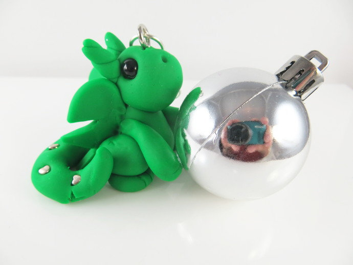 Clay green baby dragon sculpture figurine Christmas ornament