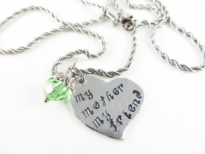 Clearance - Hand stamped heart - my mother my friend
