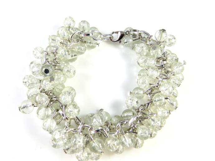 White crackle beaded cha cha bracelet