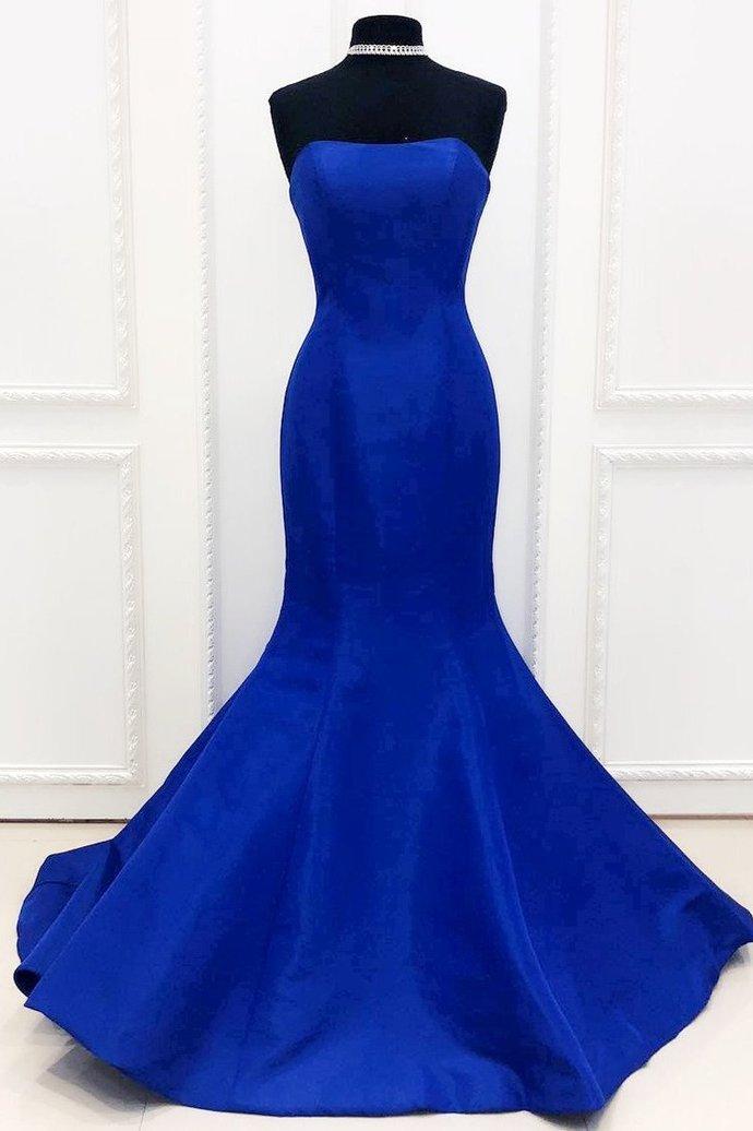 Simple Mermaid Royal Blue Evening Dress,AE939