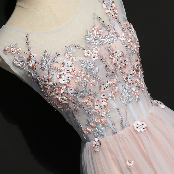 High Quality Pink Tulle Long Prom Dress 2020, A-line Party Dress