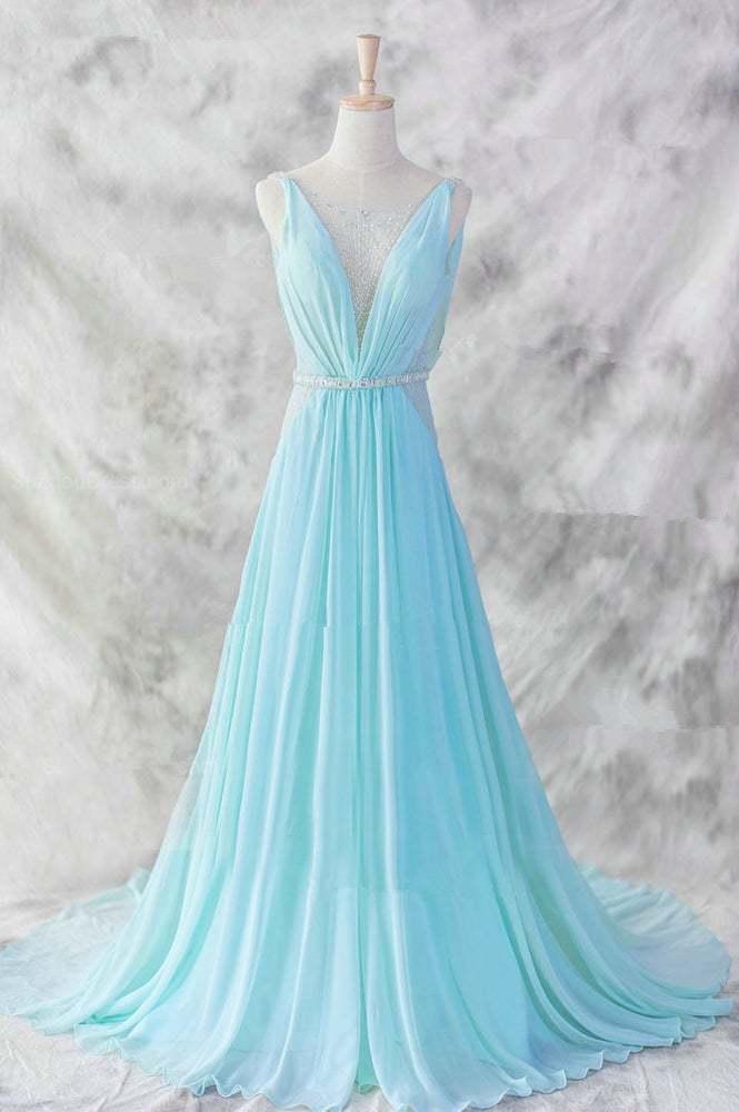 Sexy Light Blue Chiffon Long Beaded Prom Dress, Long Evening Dress