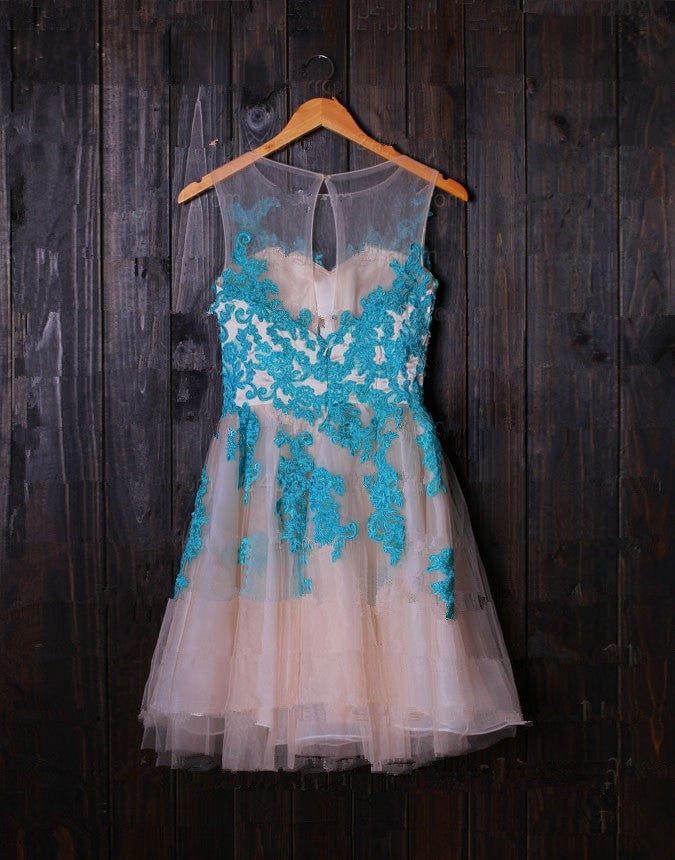 Cute Pearl Pink Tulle with Blue Lace Applique, Short Prom Dress 2020