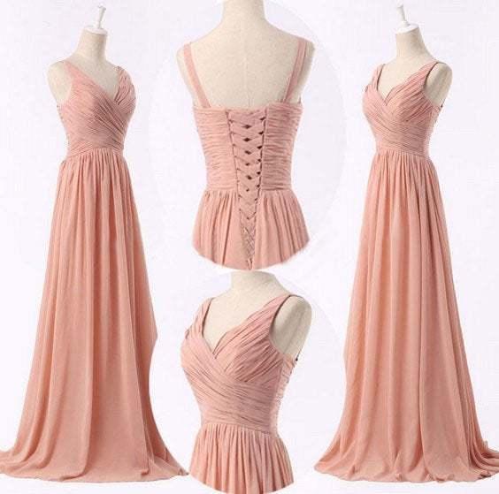 Simple Pearl Pink Chiffon V-neckline Prom Dress 2020, Bridesmaid Dress