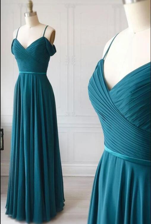 Simple sweetheart green chiffon long prom dress, green evening dress