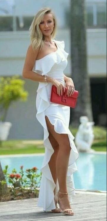 Long Sleeveless,One Shoulder ,White Chiffon Evening Dress,Elegant Prom