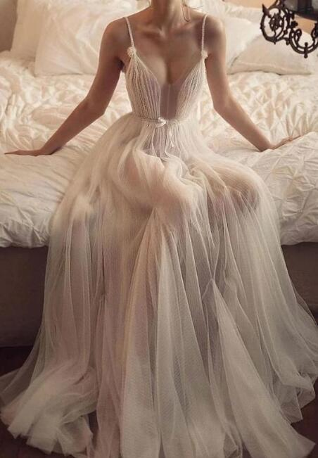 Simple champagne tulle long prom dress, champagne tulle evening dress