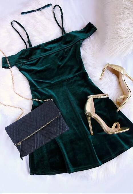 Short Prom Dresses ,prom gown,short prom dress,hunter green homecoming dress