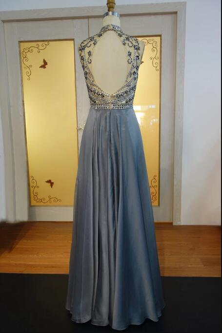 Sexy Open Back Beaded Crystals Gray Prom Dresses Long Elegant High Neck