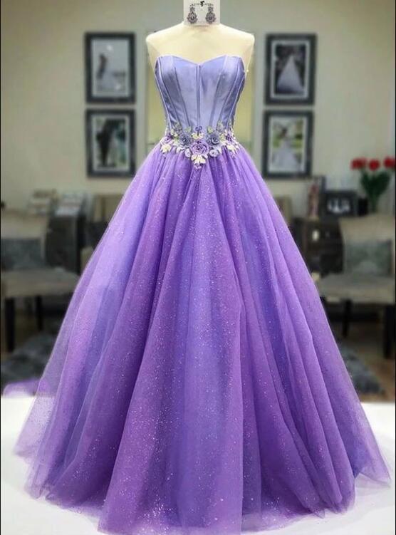 Purple sweetheart neck tulle long prom dress, evening dress