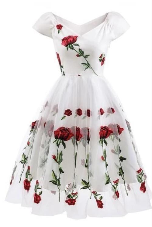 Off-the-shoulder Rose Embroidered A-line Prom Dress
