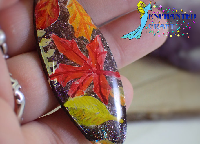 Colorful handpainted Autumn leaves wood pendant resin coat on both sides