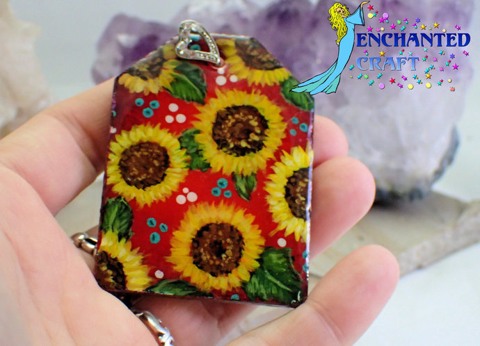 Large cheerful handpainted sunny sunflowers wood pendant resin coat on both