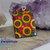 Large cheerful handpainted sunny sunflowers wood pendant resin coat on both