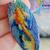 Serene handpainted Koi fish on blue wood pendant resin coat on both sides
