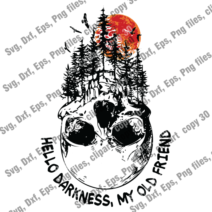 Hello Darkness My Old Friend Forest Skull SVG, Instant Download, Silhouette