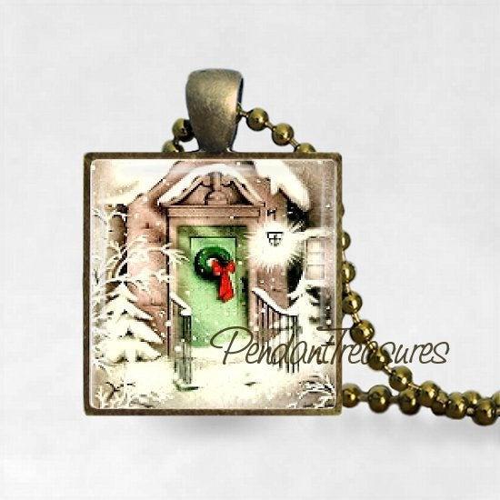 Vintage Christmas Mid Century Winter Door Scene Art  Handmade Pendant Necklace