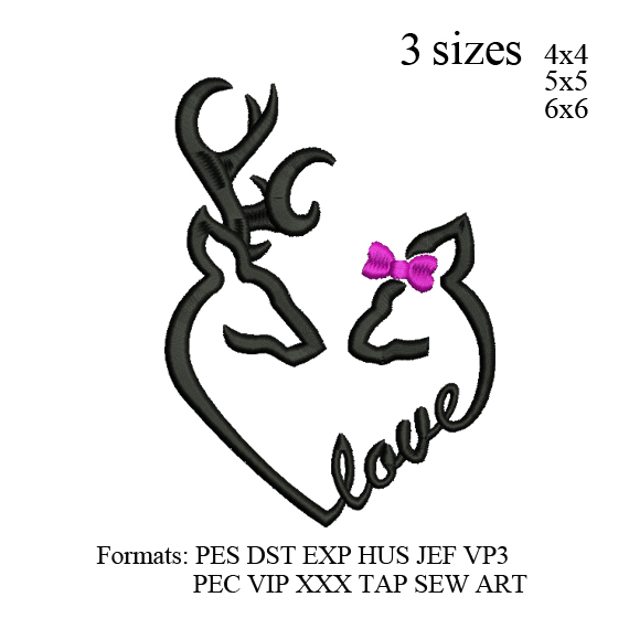 Deer love embroidery design design,Deer heart embroidery pattern No 877.. 3