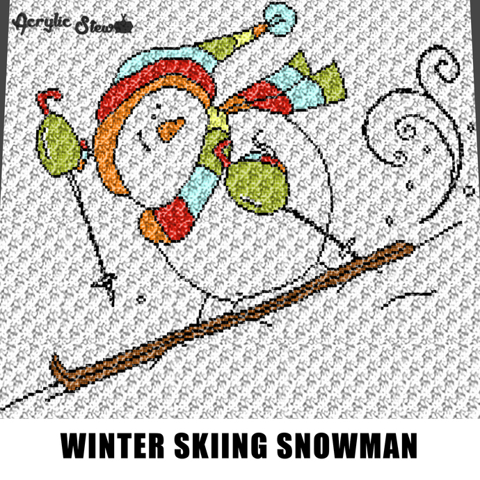 Skiing Snowman Winter Wonderland Themed Snow Art crochet graphgan blanket