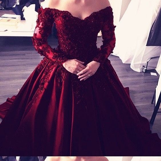 Burgundy Satin with Lace Applique Ball Gown Party Dress,Wine Red Prom Dress 2020