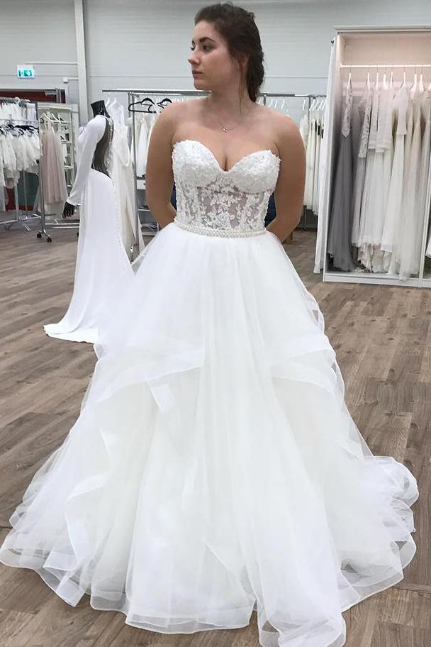 Sweetheart Cascading Ruffles Floor Length Wedding Dress with Appliques,FLY020