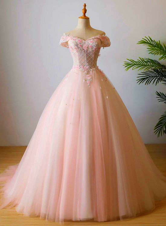 Pretty Off Shoulder Tulle Pink Party Dress 2020, Long Formal Dress
