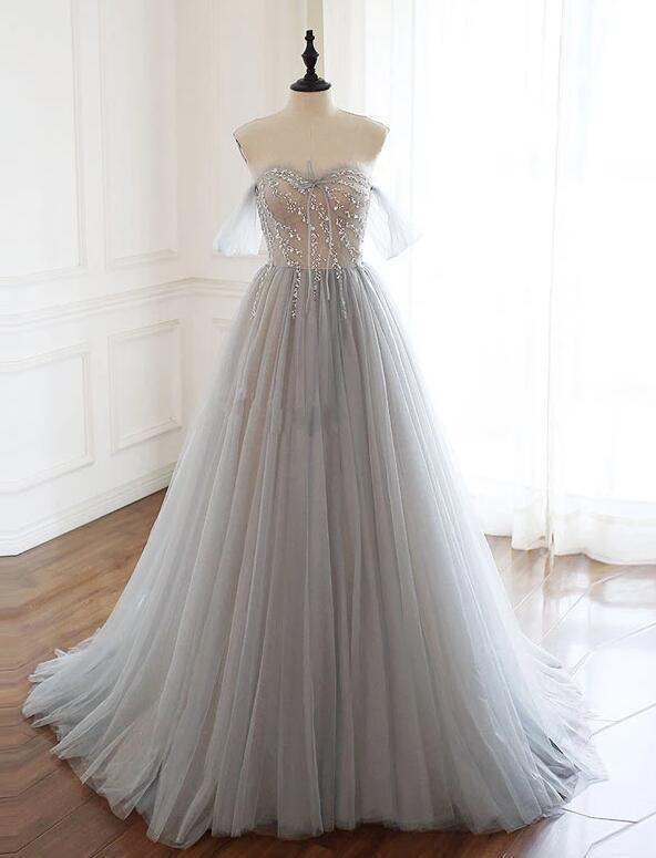 Elegant Grey Tulle Long Sweetheart Prom Dress, Long Party Dress 2020