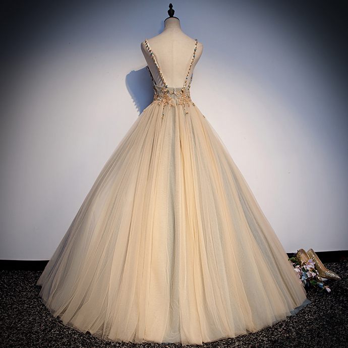 Gorgeous Champagne Tulle V-neckline Sweet 16 Dress, Prom Dress 2020