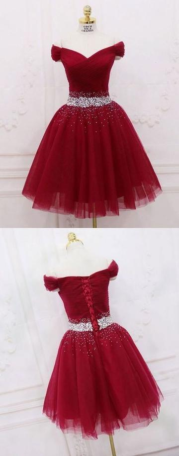 Off the Shoulder Tulle Red Prom Dress, Short Beaded Homecoming Dress