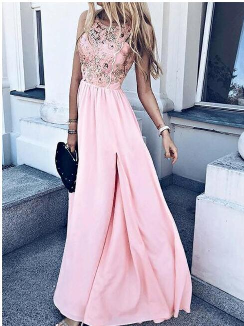 A-Line Round Neck Pink Chiffon Long Homecoming Prom Dress with Appliques