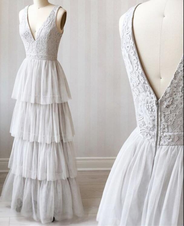 A Line V Neck Gray Lace Prom Dresses, V Neck Gray Lace Formal Graduation