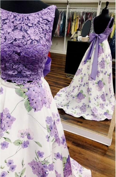 lace two pieces long prom dress purple evening dress