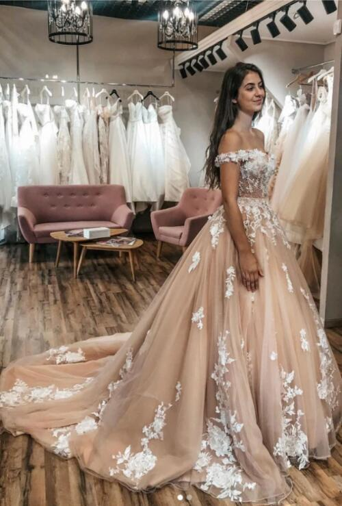 Champagne sweetheart tulle lace long prom dress tulle lace formal dress