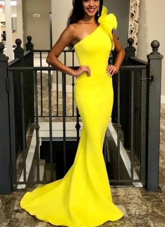 Mermaid One-Shoulder Sweep Train Yellow Prom Dress with Ruffles